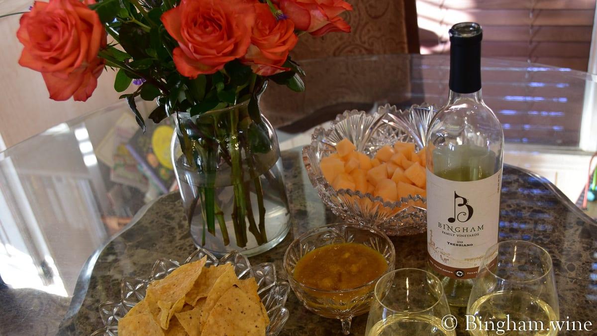Caribbean Style Mango Habanero Hot Sauce And 2018 Trebbiano Bingham Family Vineyards